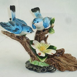 Blue Ceramic Branch Singing Birds Desktop Decoration Painted Pottery