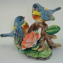 Amusing Ceramic Blue Birds and Flowers Desktop Decoration Painted Pottery