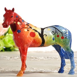Trichromatic Ceramic Tree Pattern Horse Painted Pottery