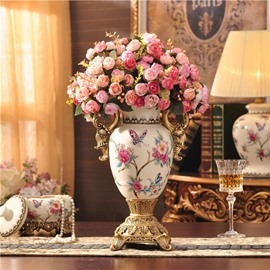 Beautiful Ceramic European Style Flower Vase Painted Pottery