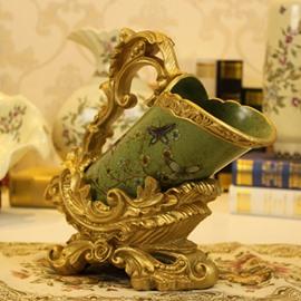 Fancy Green Ceramic Flower Pattern Wine Rack Painted Pottery