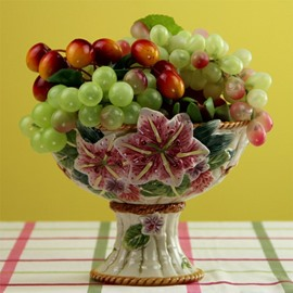 Wonderful Ceramic Lily Pattern Fruit Compote Painted Pottery