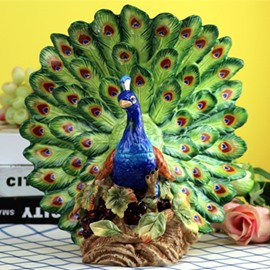 Gorgeous Ceramic Peacock Desktop Decoration Painted Pottery