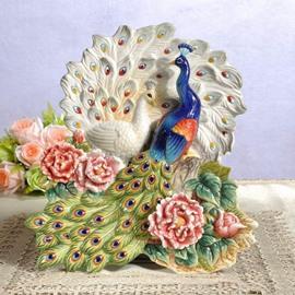 Gorgeous Ceramic Peacock Shape Desktop Decoration Painted Pottery