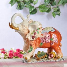 Lovely Cute Ceramic Little Elephant Shape Desktop Decoration Painted Pottery