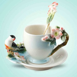 Delicate Ceramic Flower and Bird Pattern Cup Set Painted Pottery