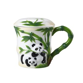 Unique Design Panda and Bamboo Pattern Cup Painted Pottery