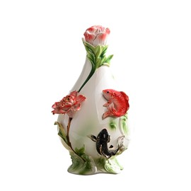 White Ceramic Flower and Fish Pattern Painted Pottery