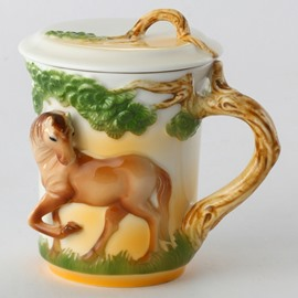 Creative Ceramic Horse Pattern Cup Painted Pottery
