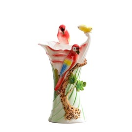 Amazing Ceramic Tree Birds Pattern Flower Vase Painted Pottery