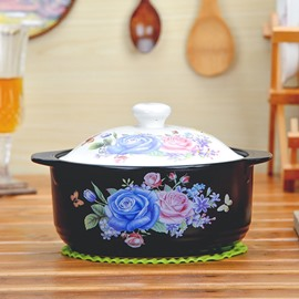 Unique Design Ceramic Rose Pattern Heat-resisting 3.5L Stockpot