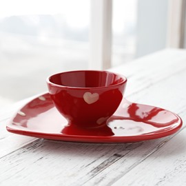 Romantic Red Ceramic with Pink Heart Pattern Saucer and Bowl Sets Painted Pottery