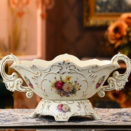 White Ceramic Elegant Flowers Pattern Desktop Fruit Compote Painted Pottery