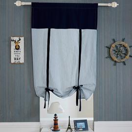 Modern Decoration Blue Stripes Tie-Up Roman Shades