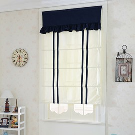 Designer Double Double Blue Stripes Flat-Shaped Roman Shades with Valances
