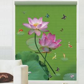 Blooming Lotus Printing Polyester Shangri-La Blind & Roller Shades