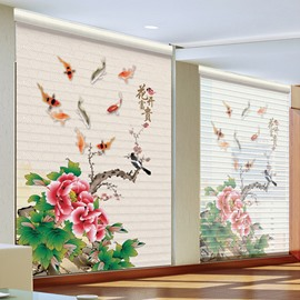 Chinese Style Grace Gorgeous Peony Printing Polyester Shangri-La Blind & Roller Shades
