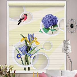 Lovely Lark and Purple Flowers Printing Shangri-La Blind & Roman Shades