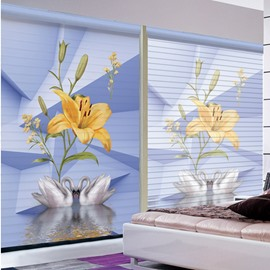 Couple Lovely White Swan and Orange Lily Printing 3D Shangri-La Blinds & Roller Shades