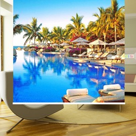 Leisurely Resort Waterside Printing Blackout 3D Roller Shades