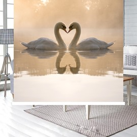 Couple White Swans in Love Printing Blackout 3D Roller Shades