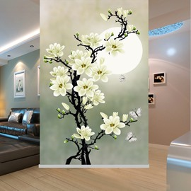 Lovely White Gardenia Printing Blackout 3D Roller Shades