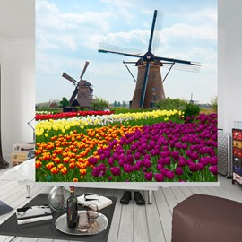Windmill and Flower Sea Printing Blackout 3D Roller Shades