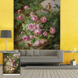 Colored Oil Painting Beautiful Rose Printing Blackout 3D Roller Shades