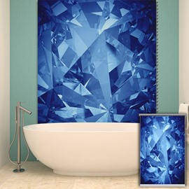 Modern Blue Diamond Printing Blackout 3D Roller Shades