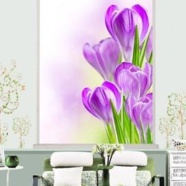 Vivid Purple Tulip Printing 3D Roller Shades