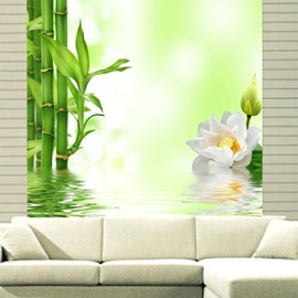White Flowers and Green Bamboo in the Water Printing 3D Roller Shades
