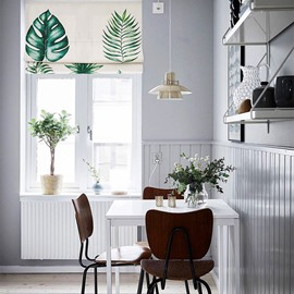 Fresh Green Leaves Printing Flat-Shaped Roman Shades