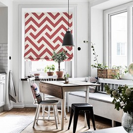 Modern Concise Red Wave Stripes Printing Flat-Shaped Roman Shades