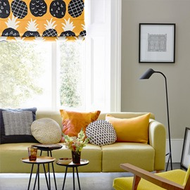 Lovely Pineapple Printing Orange Flat-Shaped Roman Shades