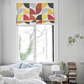 Chic Colored Blocks Printing Linen Roman Shades