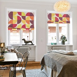 Lively Colored Geometric Printing Linen Roman Shades