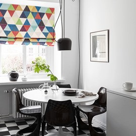 Concise Colorful Geometric Printing Linen Roman Shades