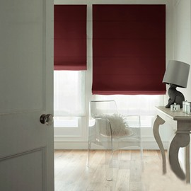 Concise Red Blackout Flat-Shaped Roman Shades