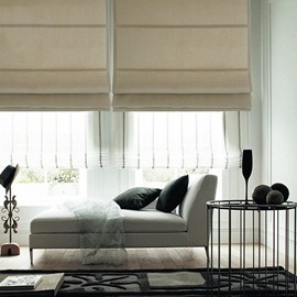 Concise Beige Blackout Flat-Shaped Roman Shades