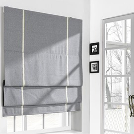 Contemporary Grey Cotton and Linen Blending Flat-Shaped Roman Shades