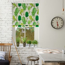 Green Tree Printing Cotton and Linen Blending Roman Shades