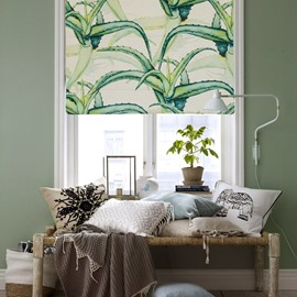 Aloe Vera Printing Cotton and Linen Blending Roman Shades