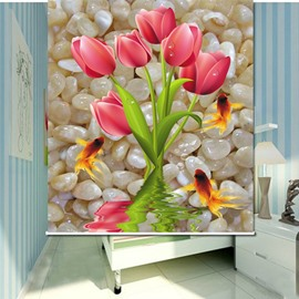 Tender Pink Tulip in the Water 3D Printed Roller Shades