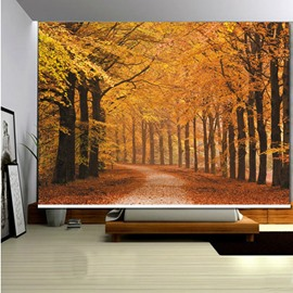 3D Printed Yellow Leaves and Path Autumn Forest Scenery Roller Shades
