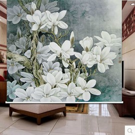 Oil Painting White Flower 3D Printed Roller Shades