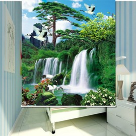 Wonderful Waterfall Green Nature Scenery 3D Printed Roller Shades