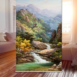 Chinese Style Landscape Painting 3D Printed Roller Shades