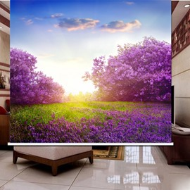 Purple Flower Field 3D Printed Roller Shades