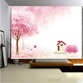 3D Pink Trees and Small House with Butterflies Printed Pink Decoration Curtain Roller Shade