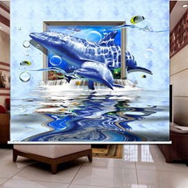 Amazing Dolphin Swimming 3D Printed Roller Shades